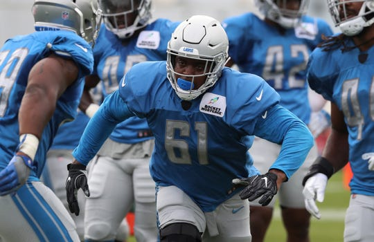 Lions defensive end Kerry Hyder in practice Aug. 1.