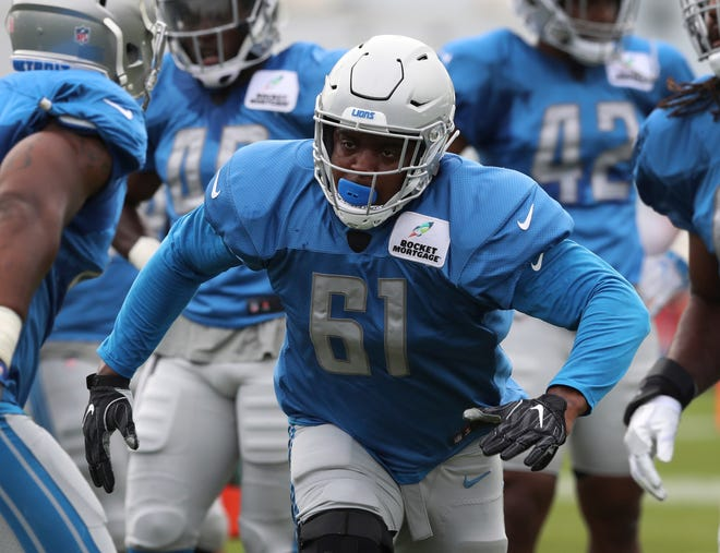 Lions defensive end Kerry Hyder Jr., runs a drill during practice during training camp on Wednesday, Aug. 1, 2018, in Allen Park.