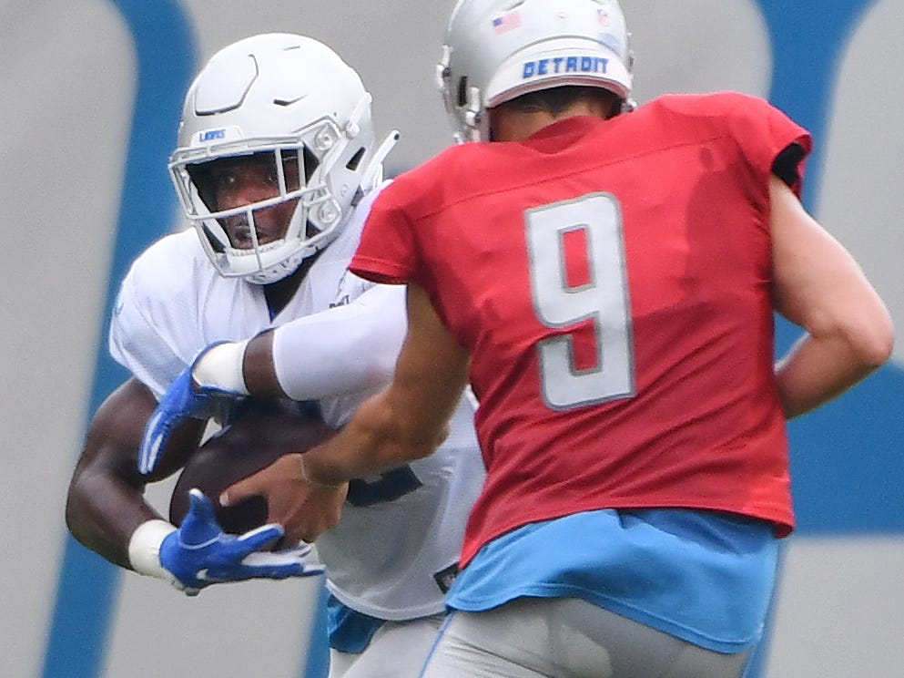 Lions running back Theo Riddick takes the handoff from quarterback Matthew Stafford.