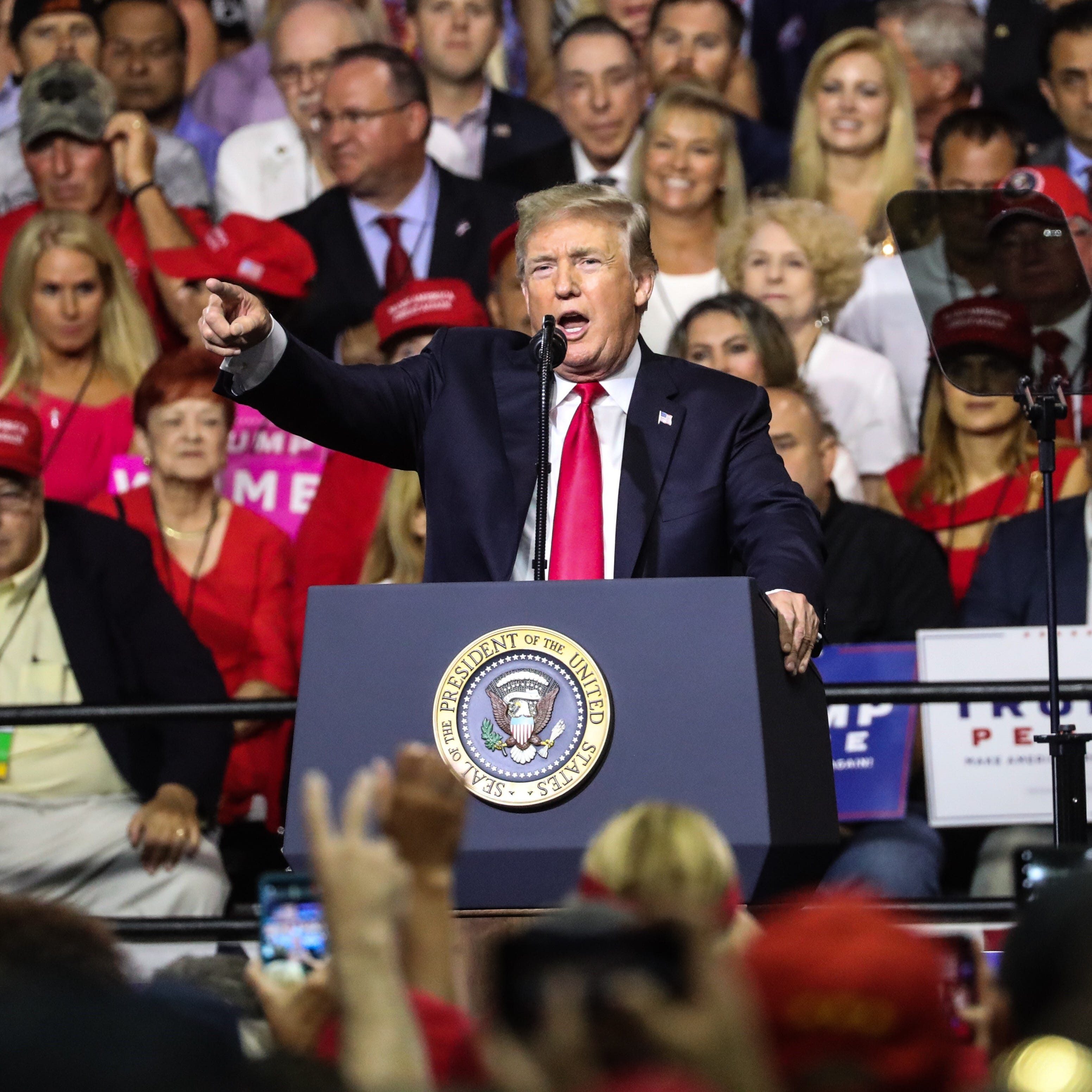 President Trump addresses supporters in Tampa on Tuesday night.