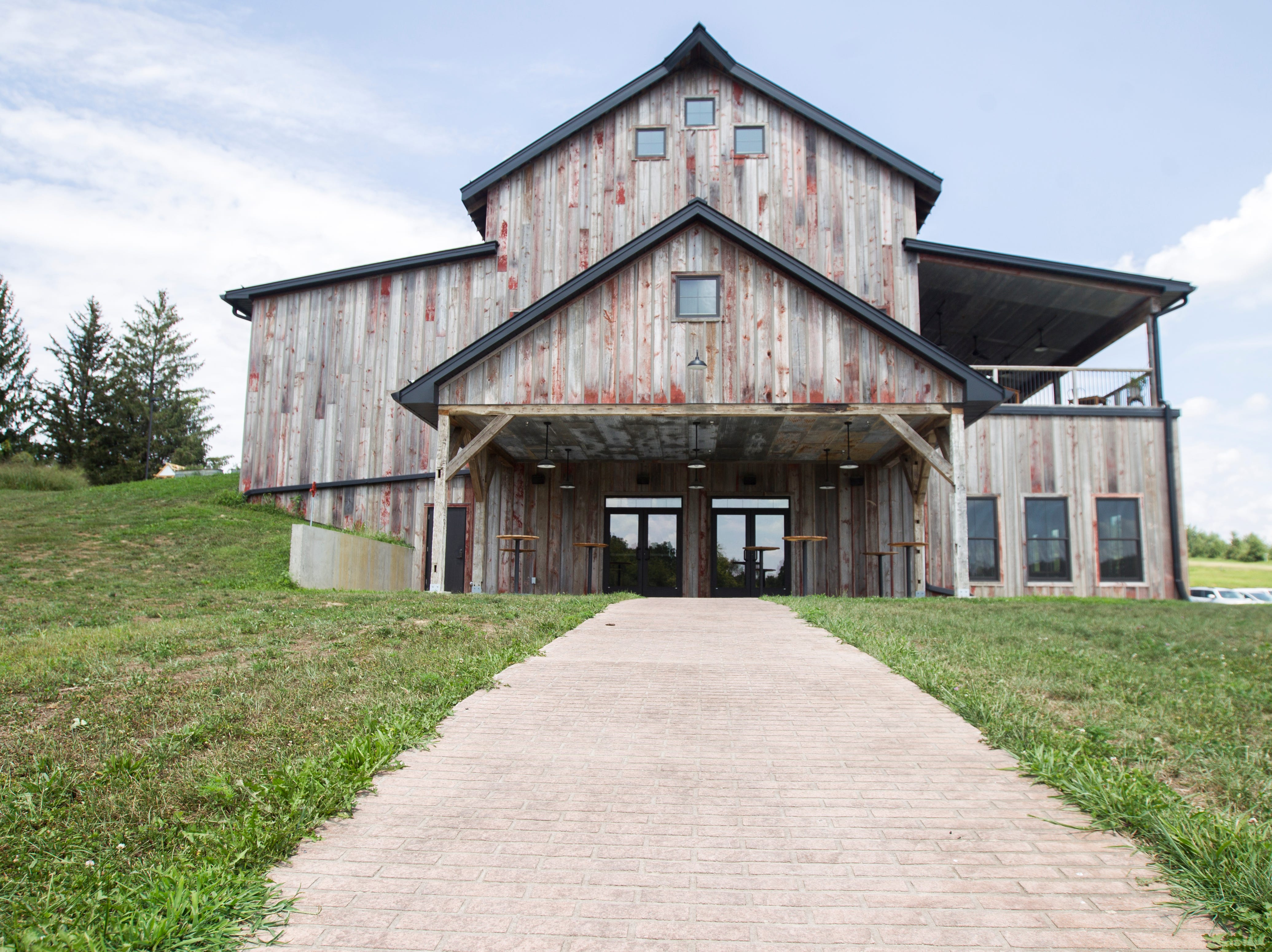 Rapid Creek Cidery is seen on Wednesday, Aug. 1, 2018, in Iowa City, Iowa. The lower floor of the building is designed for events and has a chapel area for weddings down a brick walkway.