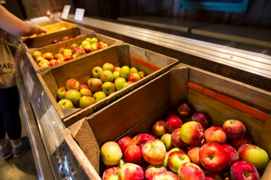 Ripe apple varieties are displayed in a chilled container on Wednesday, Aug. 1, 2018, at Wilson's Apple Orchard in Iowa City, Iowa. The orchard is open from Aug. 1 through Oct. 31, 10 a.m. to 6 p.m daily.