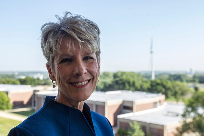 Kirkwood Community College President Lori Sundberg poses for a portrait on Wednesday, Aug. 1, 2018, in her office in Cedar Rapids, Iowa. Sundberg is the first female president for the Cedar Rapids based college.