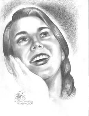 A pencil drawing of Katie Brumbeloe by Hani Elkadi.