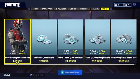 """A screenshot shows the """"Fortnite"""" video game store, where players can buy V-Bucks, the in-game currency, with real money."""