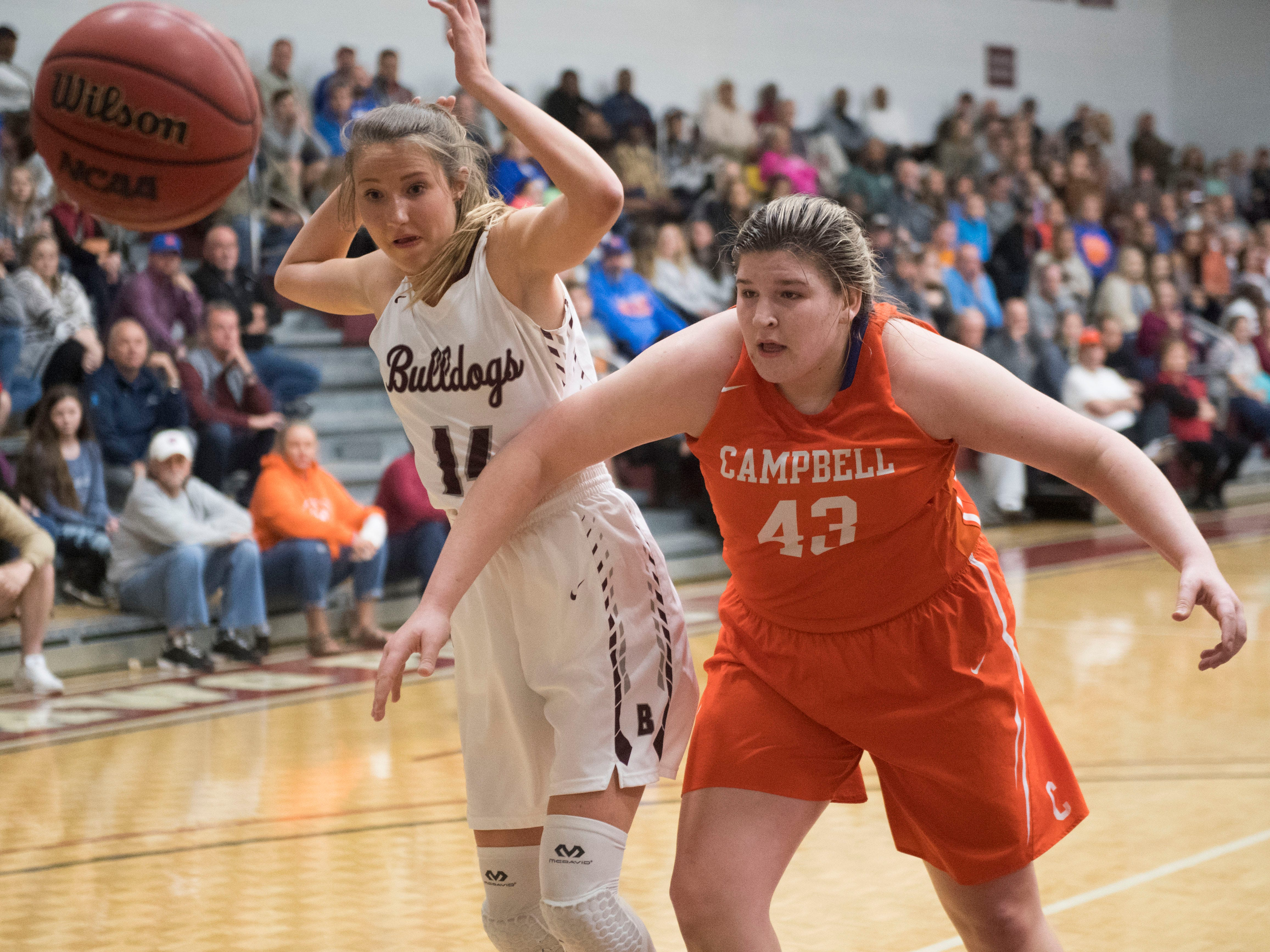 Bearden's Annaka Hall and Campbell County's Madison Brady watch the ball go out of bounds in the Region 2-AAA girls basketball semifinals on Monday, February 26, 2018.