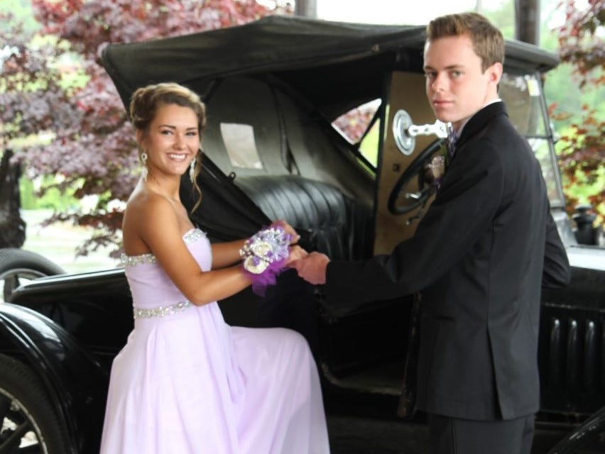Campbell County High School seniors Lindsay King and Grant Daugherty posed in front of a classic Ford Model T from years past located at the Hampton Inn in Caryville.  They attended Campbell County High School's prom at Stables in LaFollette.