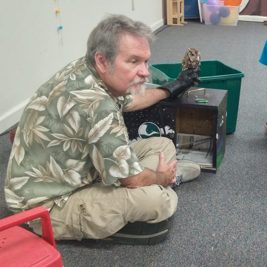 Lyn Bales with Ijams Nature Center shows an owl to participants at The Church of the Good Shepherd VBS during a June 2018 session.