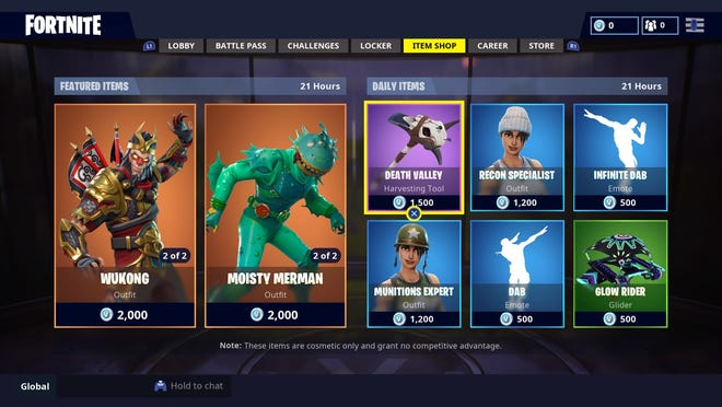 """A screenshot shows the """"Fortnite"""" video game's item shop, where players can use the in-game currency V-Bucks to purchase outfits, emotes and other items."""