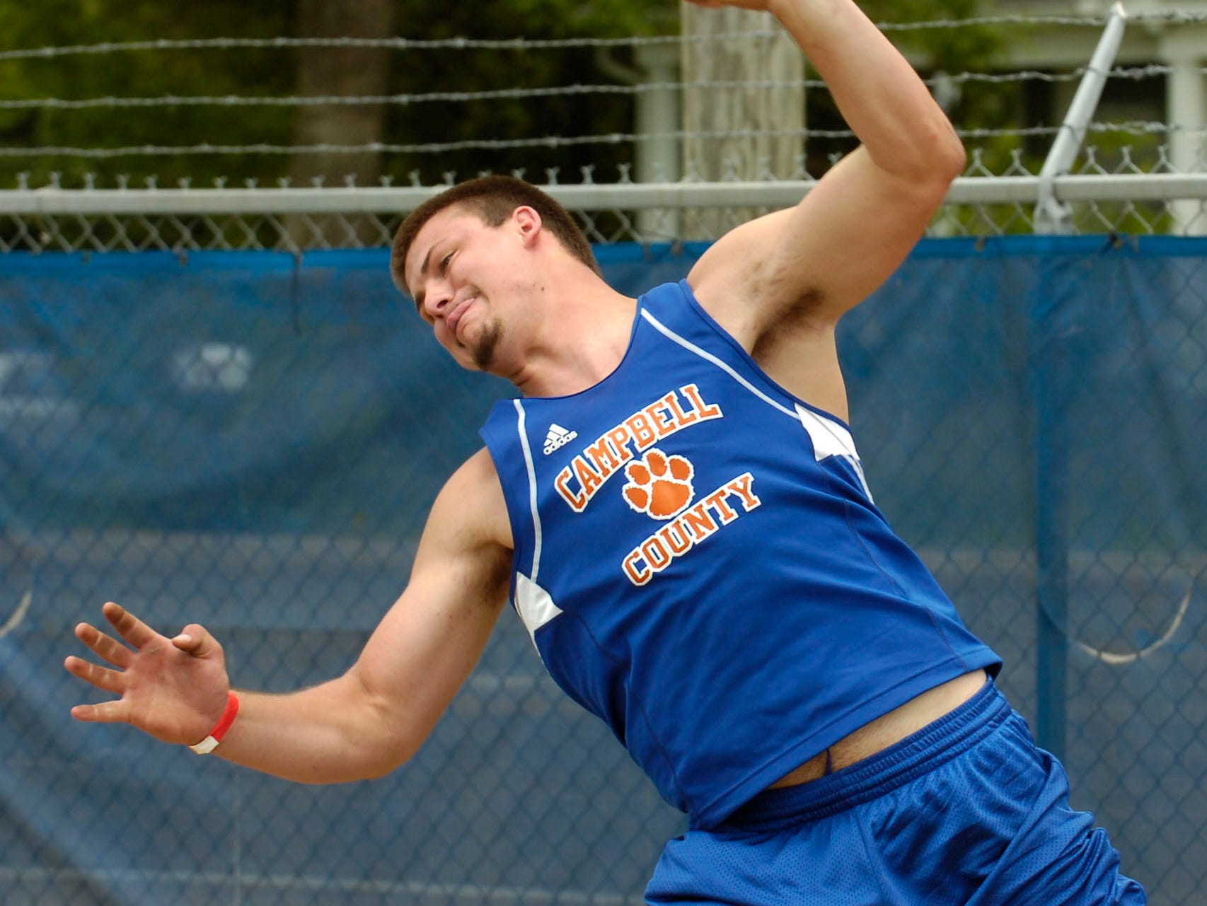 Campbell County's Preston Young placed first in the class AAA shot put at the 2009 Spring Fling in Murfreesboro on Friday.