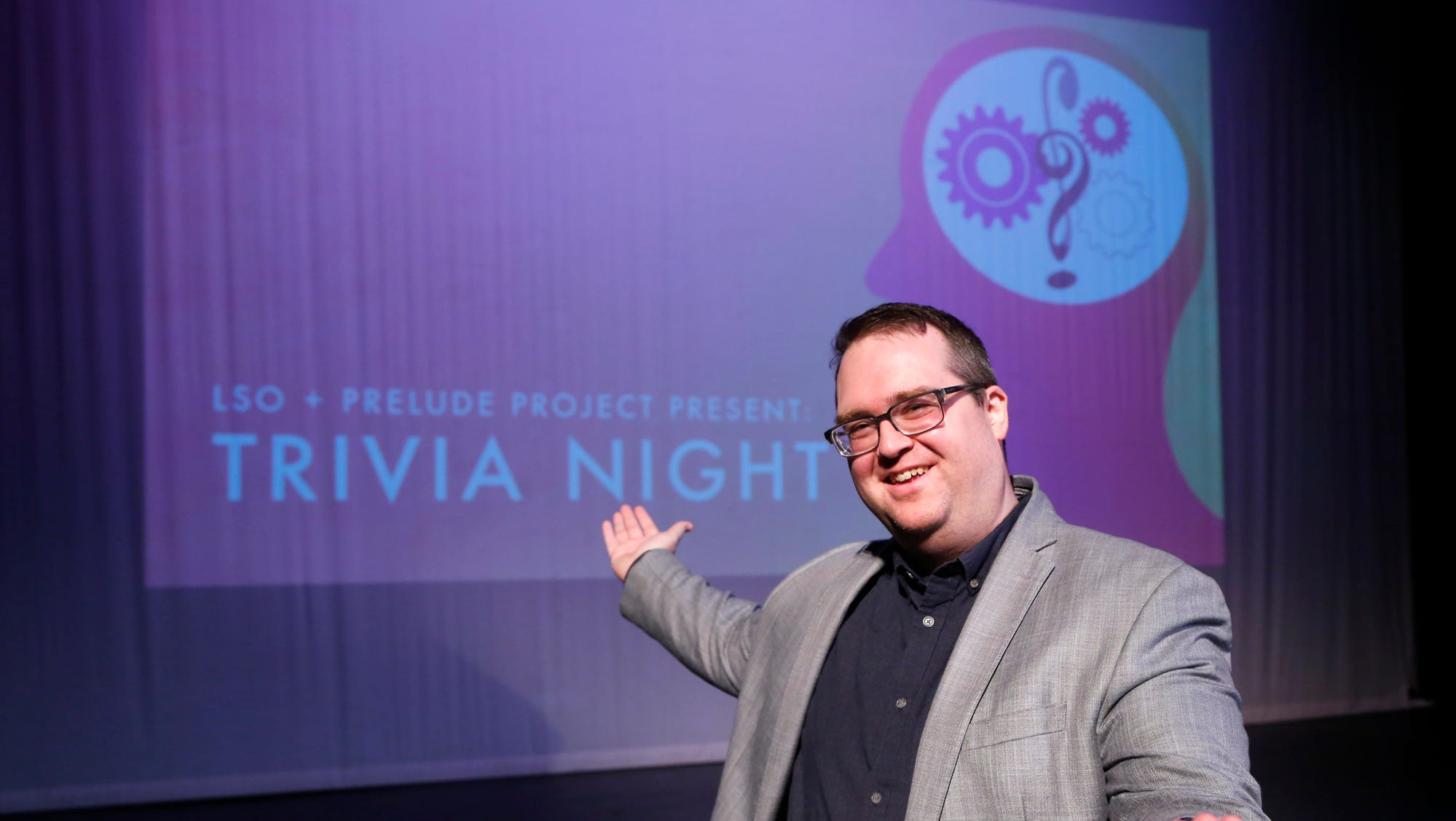 Nick Rogers, host of LSO Prelude Project Trivia Night, Wednesday, August 1, 2018, inside the Long Center for the Performing Arts. LSO Prelude Project Trivia Night will take place in the Long Center on Thursday, August 9 at 7:30 p.m.