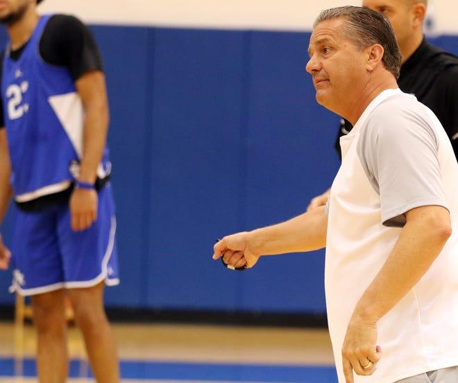 Kentucky head coach John Calipari directs his team during their practice at the Craft Center in Lexington. Aug. 1, 2018