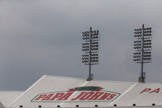 The Papa John's logo atop Cardinal Stadium is the last vestige of the pizza company's sponsorship of the stadium. Aug. 1, 2018.