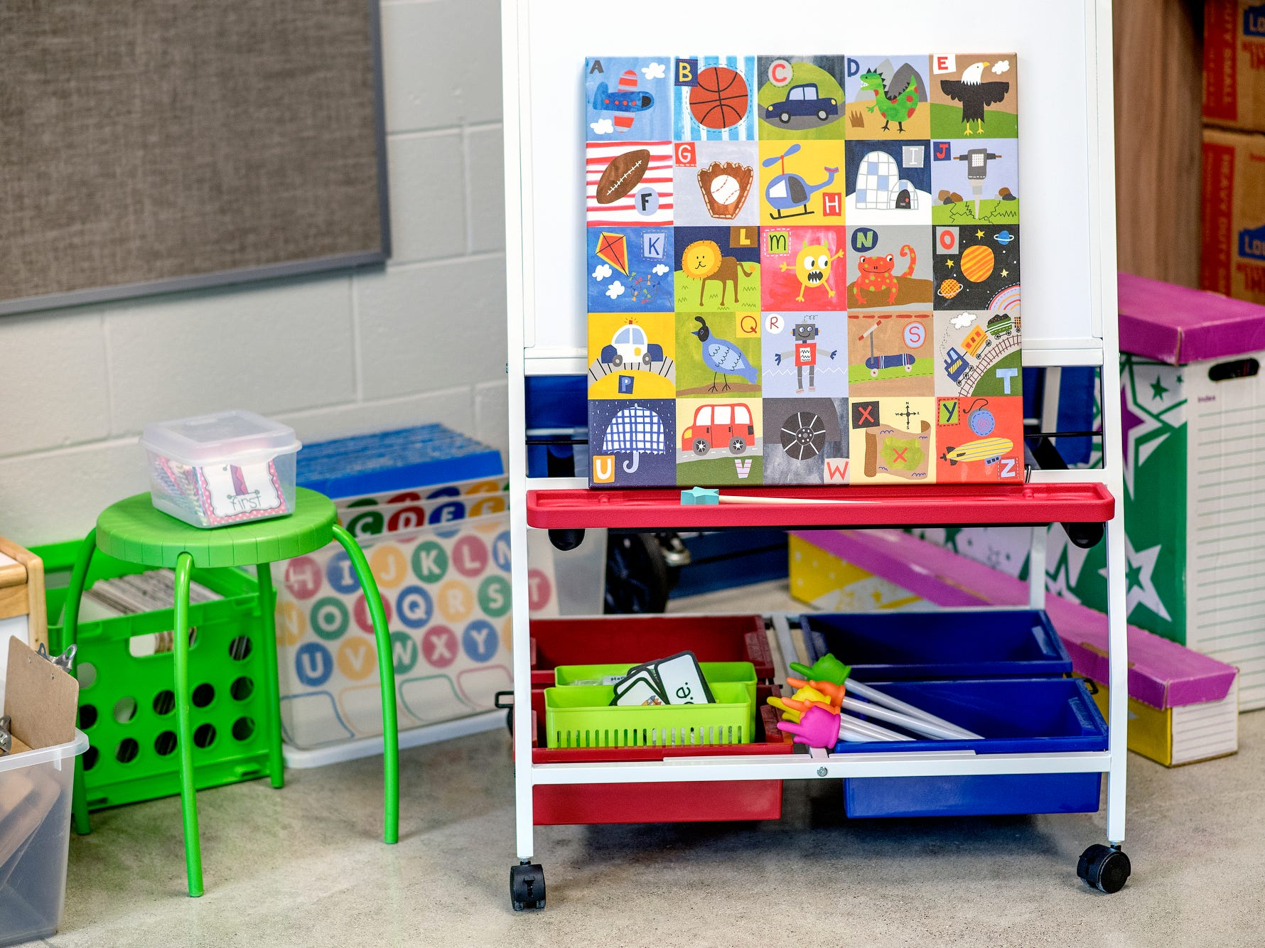 An activity board inside a classroom photographed on Wednesday, Aug. 1, 2018, at Cole Academy's East Lansing campus. The school, Cole Academy's second campus, is opening this fall.