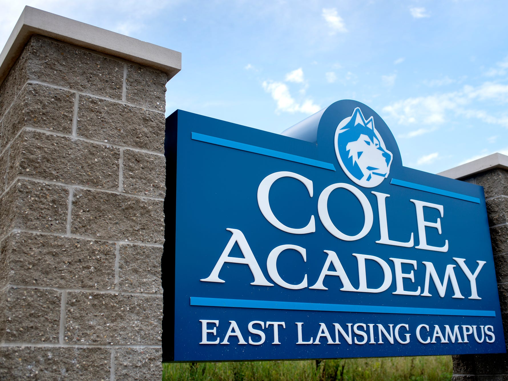 Cole Academy's school sign photographed on Wednesday, Aug. 1, 2018, at the East Lansing campus. The school, Cole Academy's second campus, is opening this fall.
