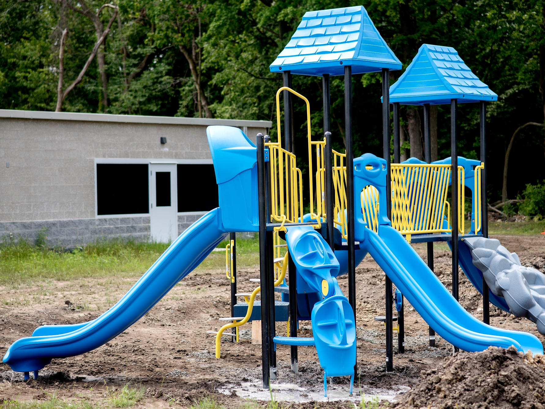The playground, photographed on Wednesday, Aug. 1, 2018, was installed this week at Cole Academy's East Lansing campus. The school, Cole Academy's second campus, is opening this fall.