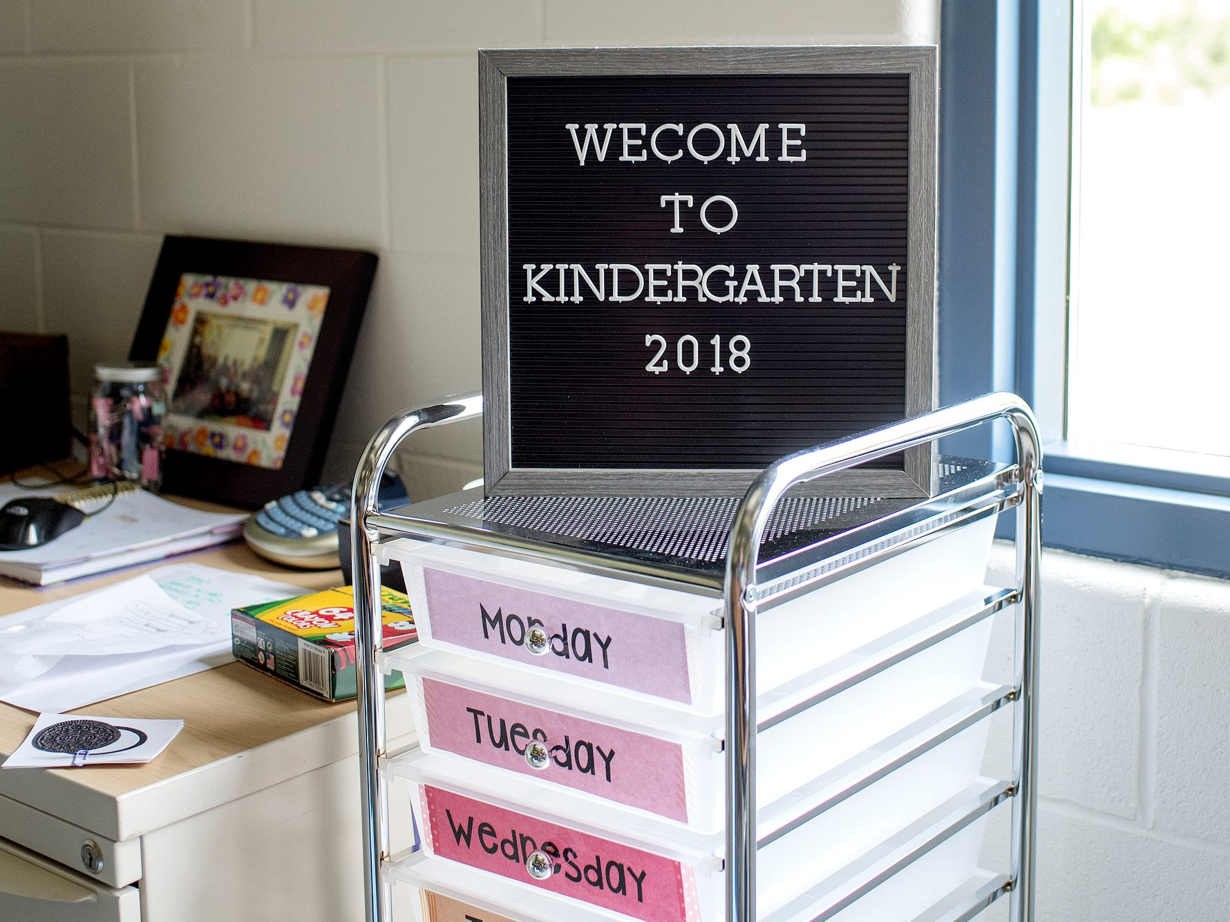 A sign welcomes kindergartners inside of a classroom photographed on Wednesday, Aug. 1, 2018, at Cole Academy's East Lansing campus. The school, Cole Academy's second campus, is opening this fall.