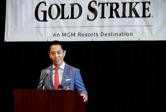 Gold Strike Casino President and COO David Tsai officially intrudes sports betting during an opening ceremony in Tunica.