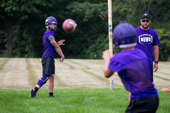Cudahy sophomore quarterback Bryce Barbian works on his passing during drills on the first day of practice.