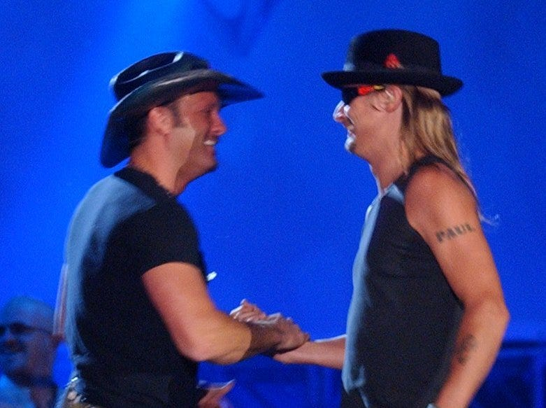2003: Tim McGraw (left) and Kid Rock share the stage at Veterans Park during the finale concert at the Harley-Davidson 100th anniversary bash on Aug. 31, 2003, in Milwaukee.