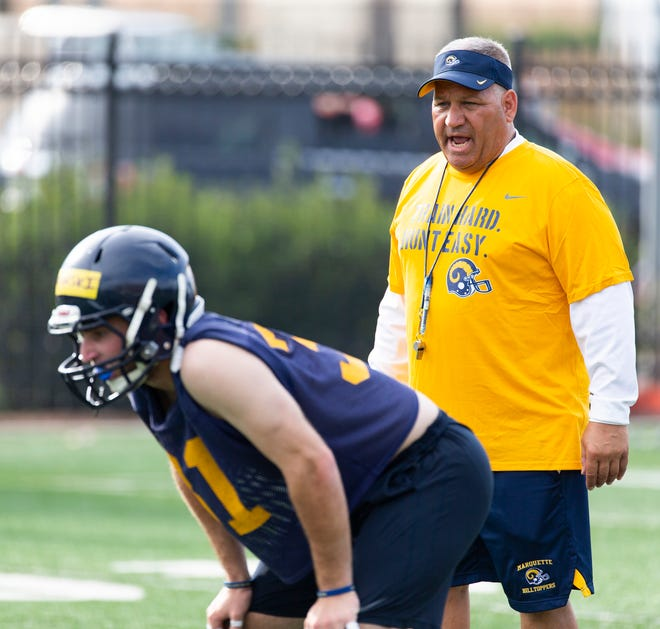 Marquette head coach Jeff Mazurczak barks some orders on the first day of practice for the Hilltoppers.