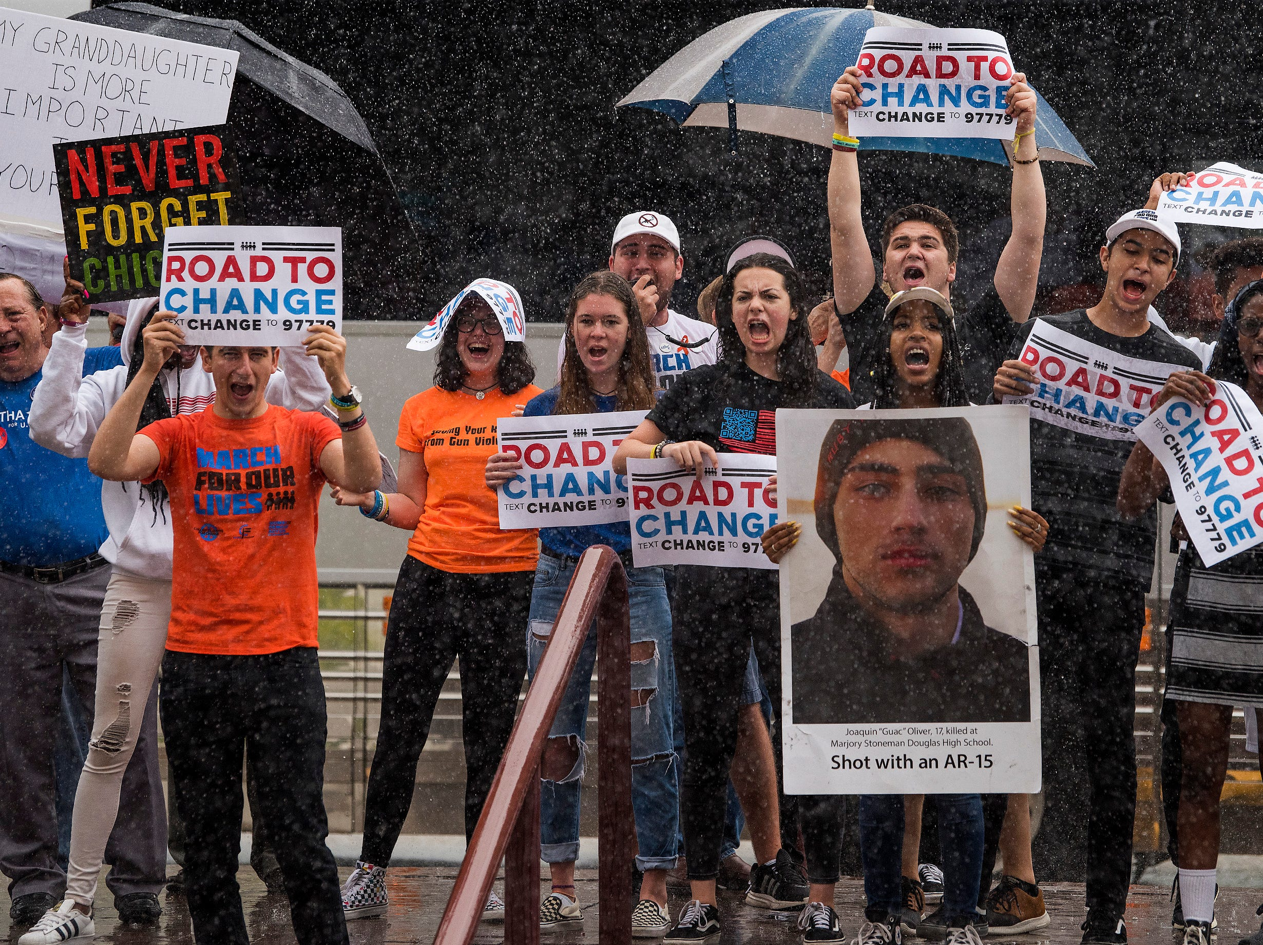 Survivors from the Parkland School shooting and gun violence protestors stop at the Alabama Statehouse in Montgomery, Ala. on Wednesday August 31, 2018 as part of the Road to Change Tour.