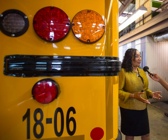 Montgomery Public Schools superintendent Ann Roy Moore inspects buses Wednesday, Aug. 1, 2018, in Montgomery, Ala.