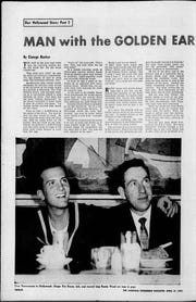 In this Tennessean Magazine article, published April 21, 1957, singer Pat Boone is shown with his arm around Randy Wood of Dot Records, who launched Boone's career.