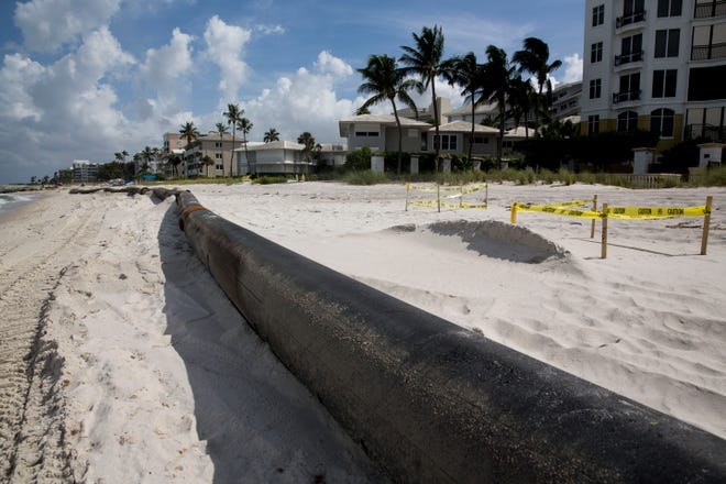 A huge pipe pushed ashore was found on the morning of Wednesday, August 1, 2018, by Steve Cox, manager of the Gulfshore Colony Club. The pipe measures to be about as long as a football field, blocking sea turtle nests, and preventing hatching turtles from getting to the water. The pipe blocks at least four nests on the Gulfshore Colony Club property and about 10-12 nests in total.