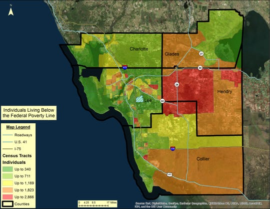 Individuals living below the federal poverty line in Southwest Florida.