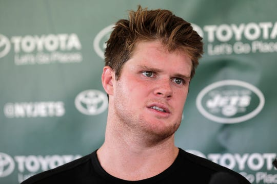 New York Jets quarterback Sam Darnold talks to reporters after practice at the NFL football team's training camp in Florham Park, N.J., Wednesday, Aug. 1, 2018. (AP Photo/Seth Wenig)