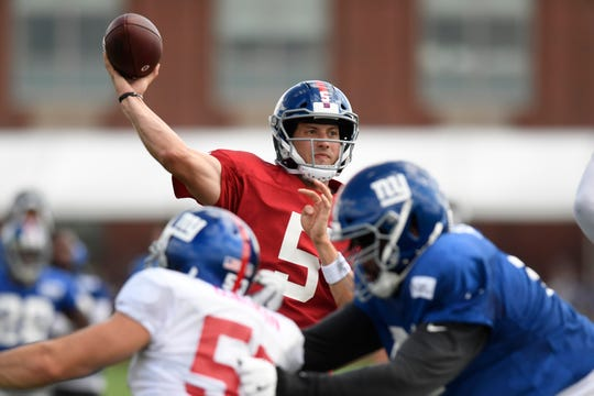 New York Giants quarterback Davis Webb (5) throws the ball during NFL training camp in East Rutherford, NJ on Wednesday, August 1, 2018.