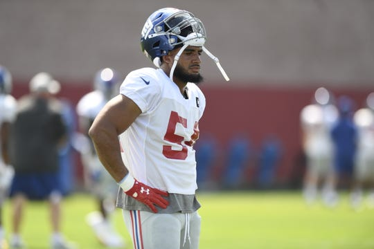 New York Giants defensive end Olivier Vernon (54) on the field during NFL training camp in East Rutherford, NJ on Wednesday, August 1, 2018.