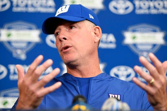 New York Giants head coach Pat Shurmur talks to the media before NFL training camp in East Rutherford, NJ on Wednesday, August 1, 2018.