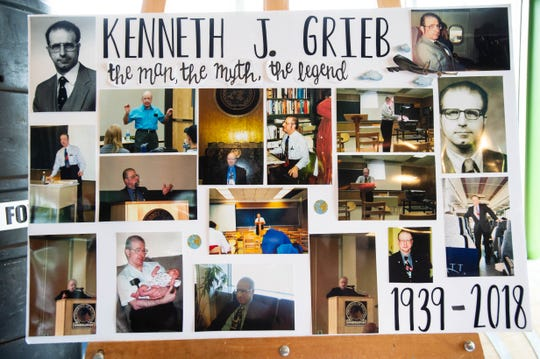 Photos displayed at Kenneth Grieb's funeral reception. Grieb died July 13.