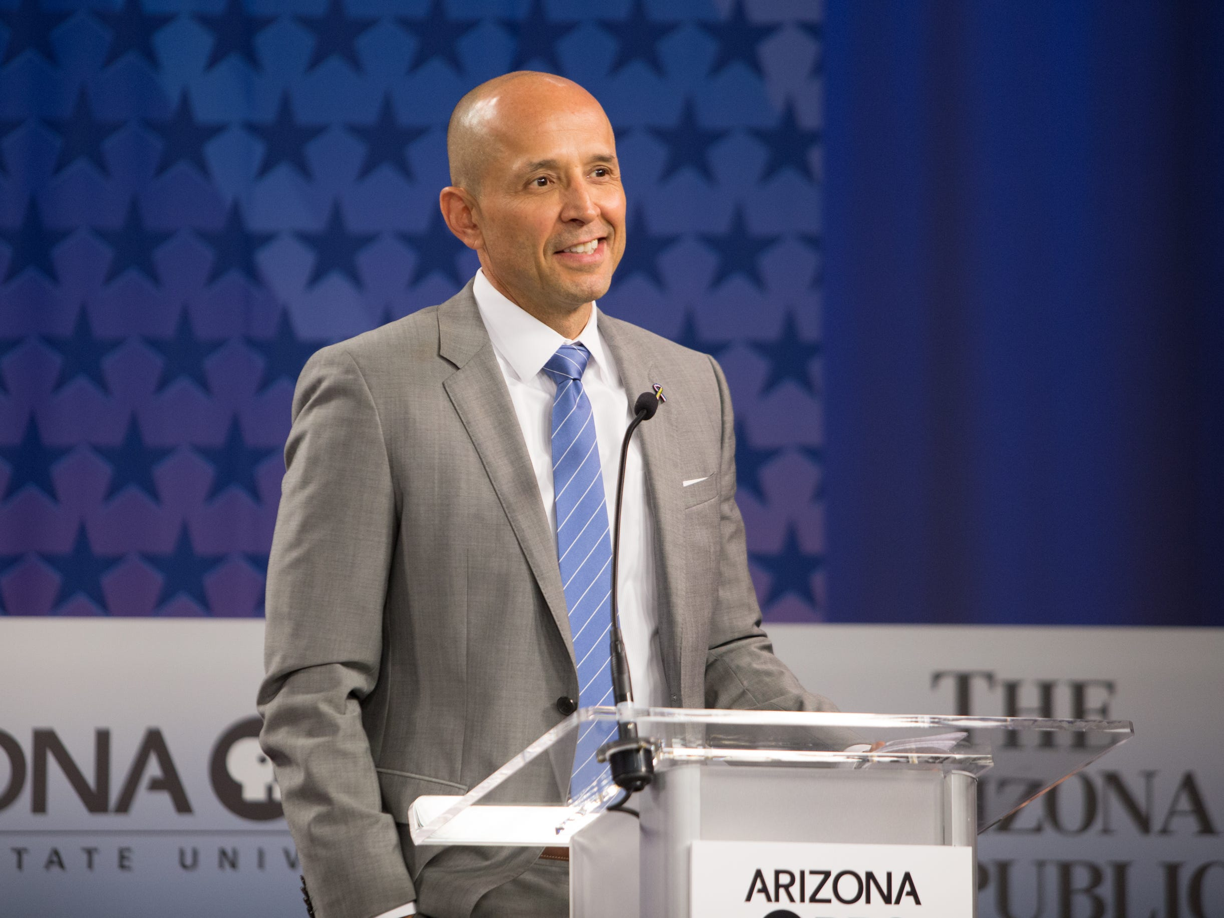 Gubernatorial candidate David Garcia on July 31, 2018, during a debate among Democrats vying for Arizona governor at Arizona State University's Walter Cronkite School of Journalism in Phoenix, Arizona.