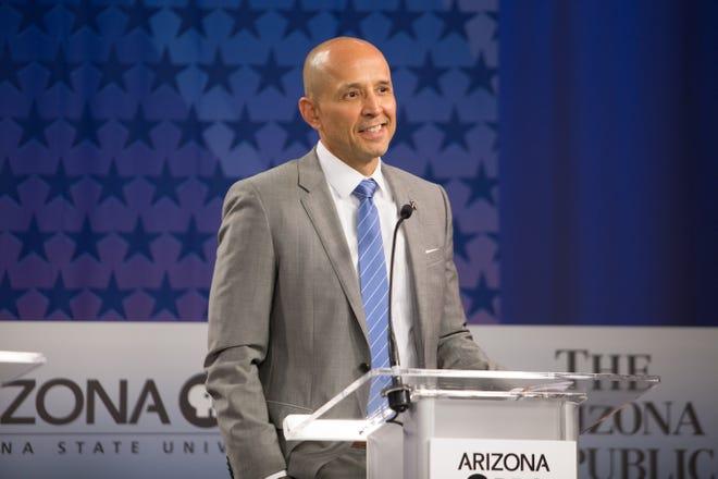 Gubernatorial candidate David Garcia on July 31, 2018, during a debate among Democrats vying for Arizona governor at Arizona State University's Walter Cronkite School of Journalism in Phoenix, Arizona.