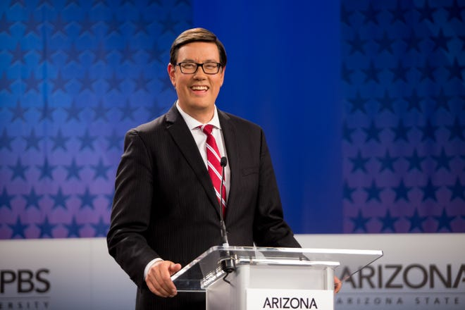 Gubernatorial candidate Steve Farley on July 31, 2018, during a debate among Democrats vying for Arizona governor at Arizona State University's Walter Cronkite School of Journalism in Phoenix, Arizona.