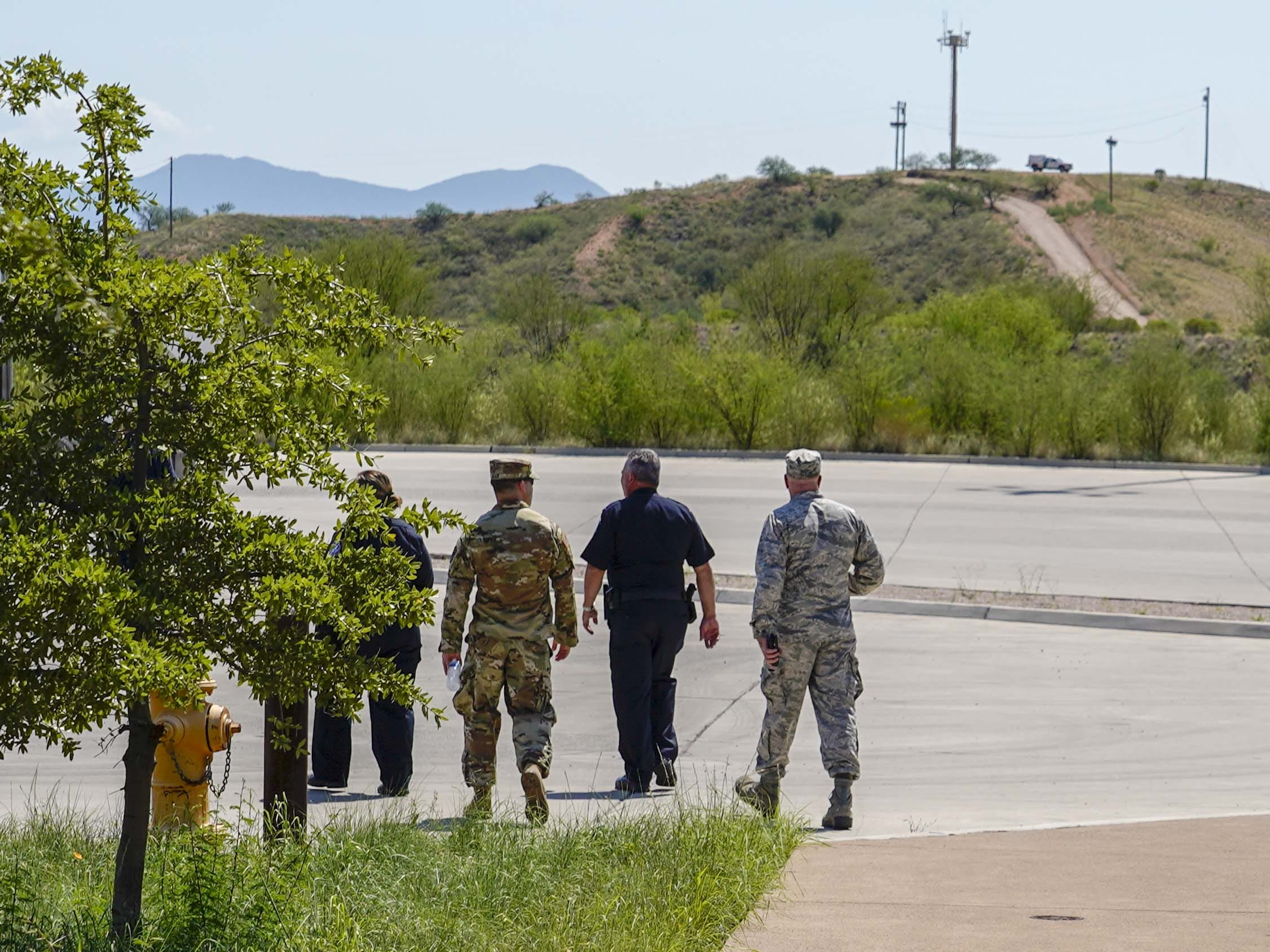 National Guard personnel perform their Operation Guardian Support responsibilities Aug. 1, 2018, at the Port of Nogales (Mariposa Crossing) in Nogales, Arizona.
