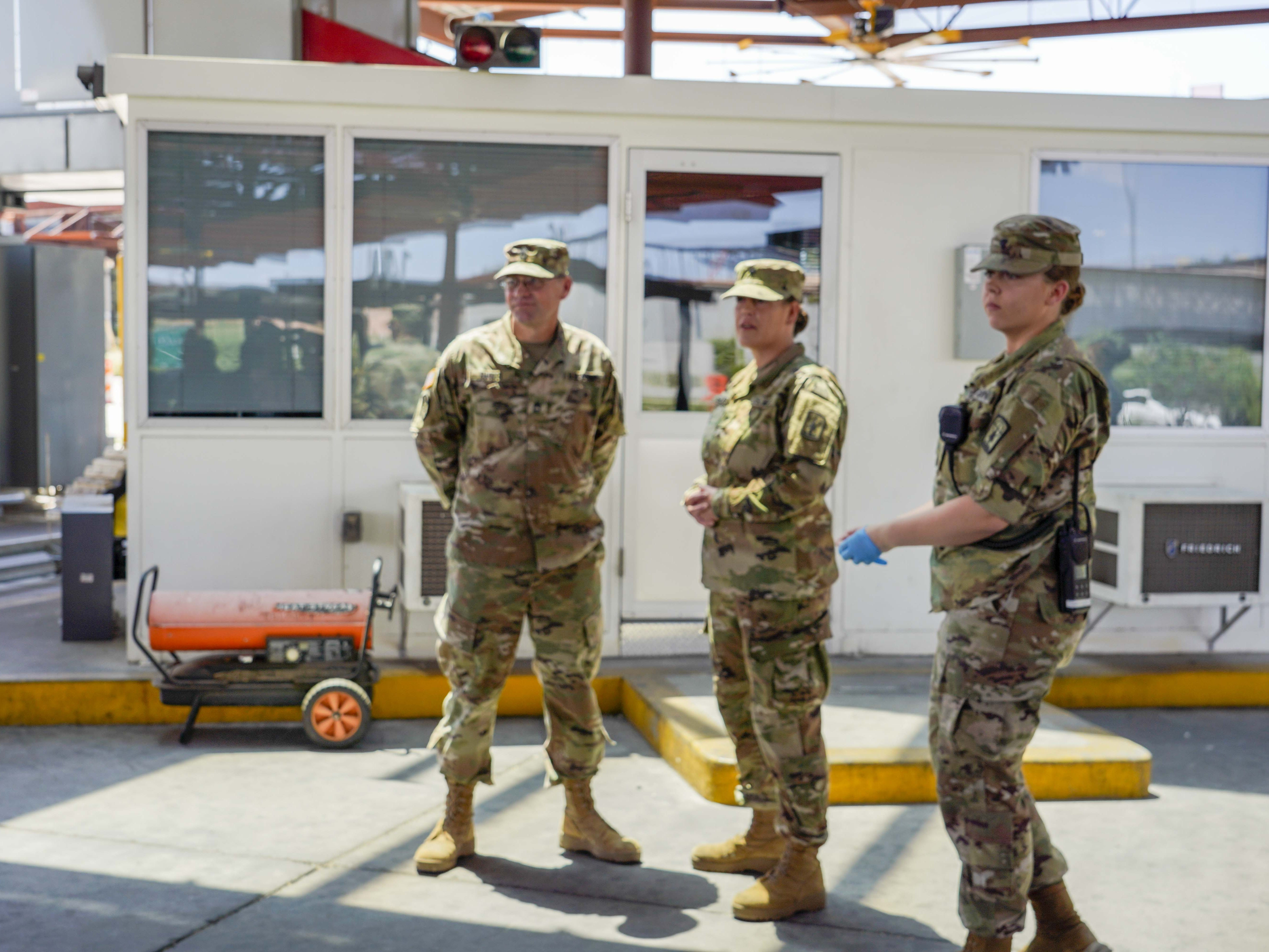 National Guard personnel are performing operational support functions, including nonintrusive inspections and monitoring cameras Aug. 1 at the Port of Nogales (Mariposa Crossing) in Nogales, Arizona.