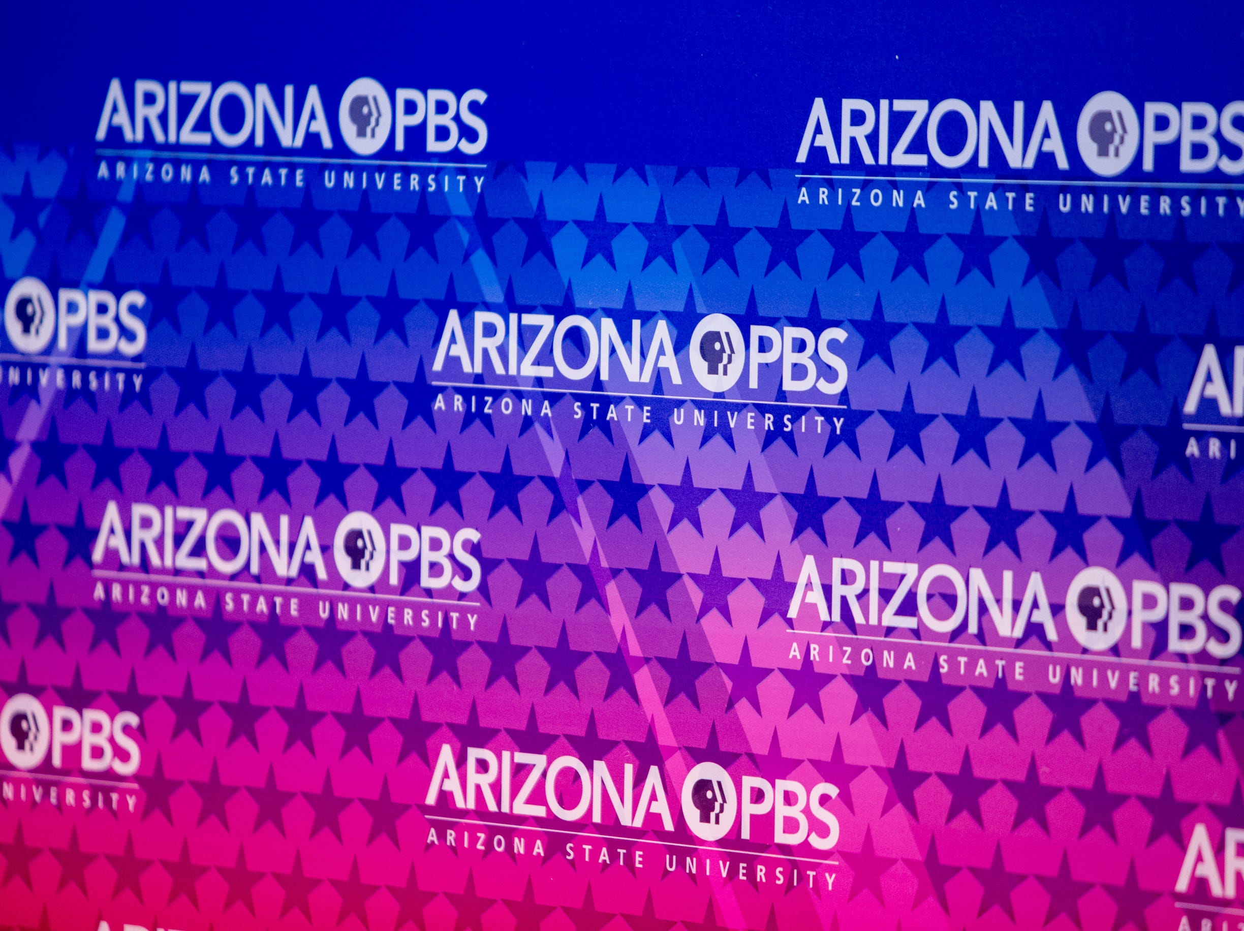 Arizona PBS and the Arizona Republic host a debate on July 31, 2018, during a debate among Democrats vying for Arizona governor at Arizona State University's Walter Cronkite School of Journalism in Phoenix, Arizona.