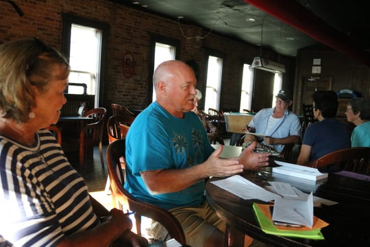 P.J. Grondin, a fiction author from Sandusky, shares his experiences working with various publishers during the GPCAAC's Writers Circle in July.