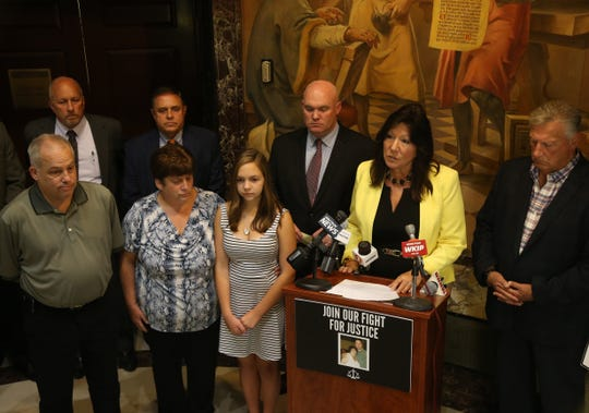 New York State Senator Sue Serino speaks during a press conference in the City of Poughkeepsie on August 1, 2018. Serino and Kieran Lalor are seeking a change in sentencing laws to allow for longer jail terms for certain crimes.