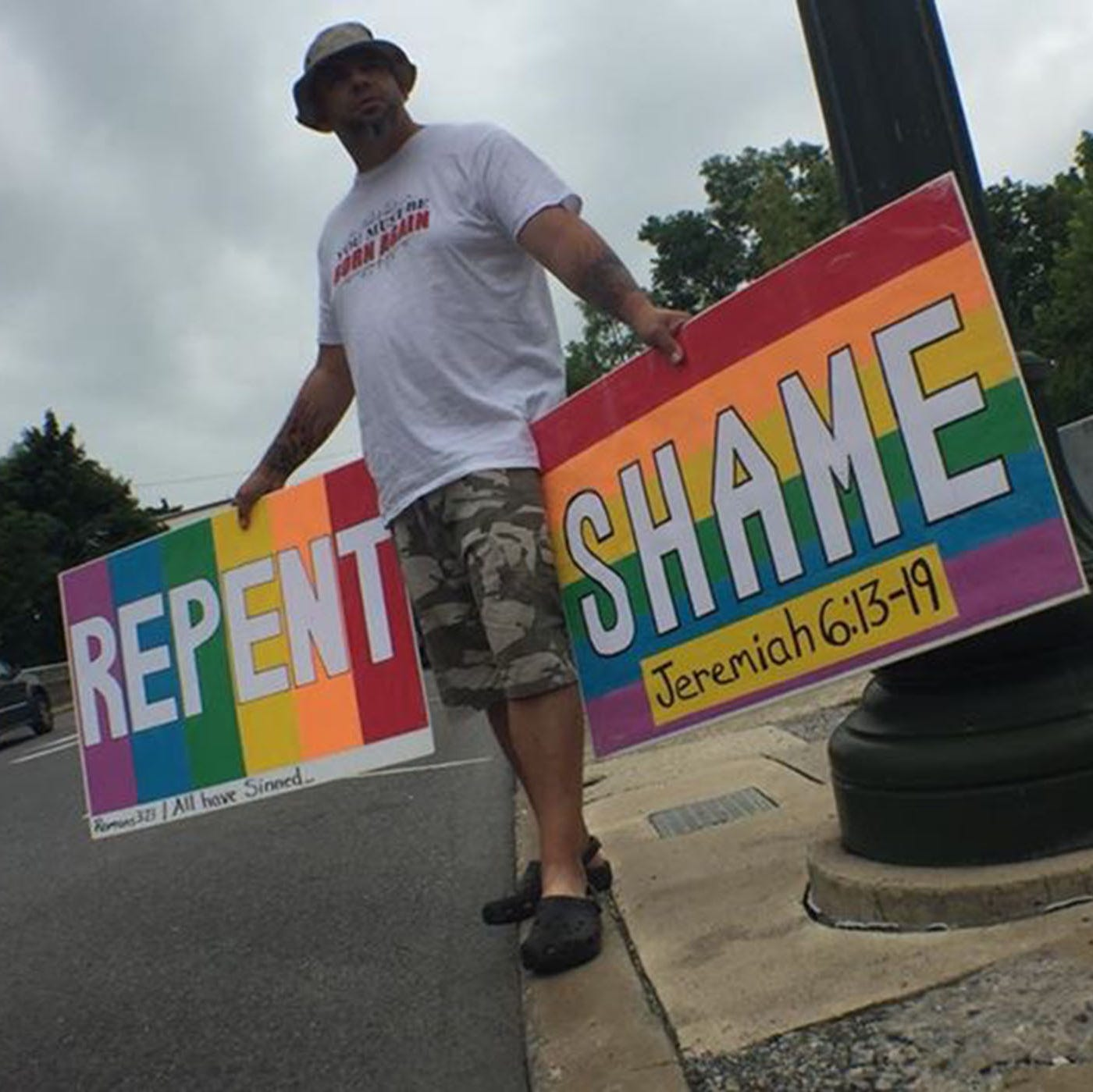 Anti-LGBTQ group protests in Chambersburg Square ahead of Pride event this weekend