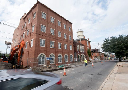 This photo, taken on Aug. 1, 2018, shows work continuing on the addition to Chambersburg Borough Hall on Queen Street. As October comes to a close, the project nears completion.