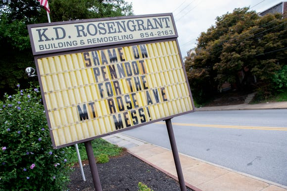 Betsy Rosengrant-Stein, owner of K.D. Building and Remodeling, usually uses her sign along Mount Rose Avenue for positive messages, but after learning of the delayed roadwork on the Mount Rose/I-83 interchange, she decided to put a message directed toward PennDOT.
