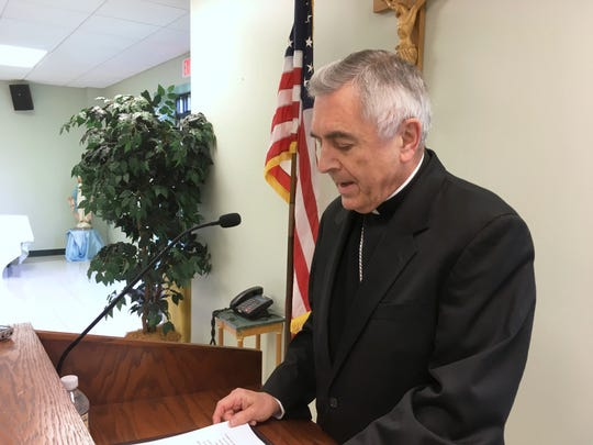 Bishop Ronald Gainer of the Roman Catholic diocese of Harrisburg discusses child sexual abuse by clergy during a news conference on Aug. 1.