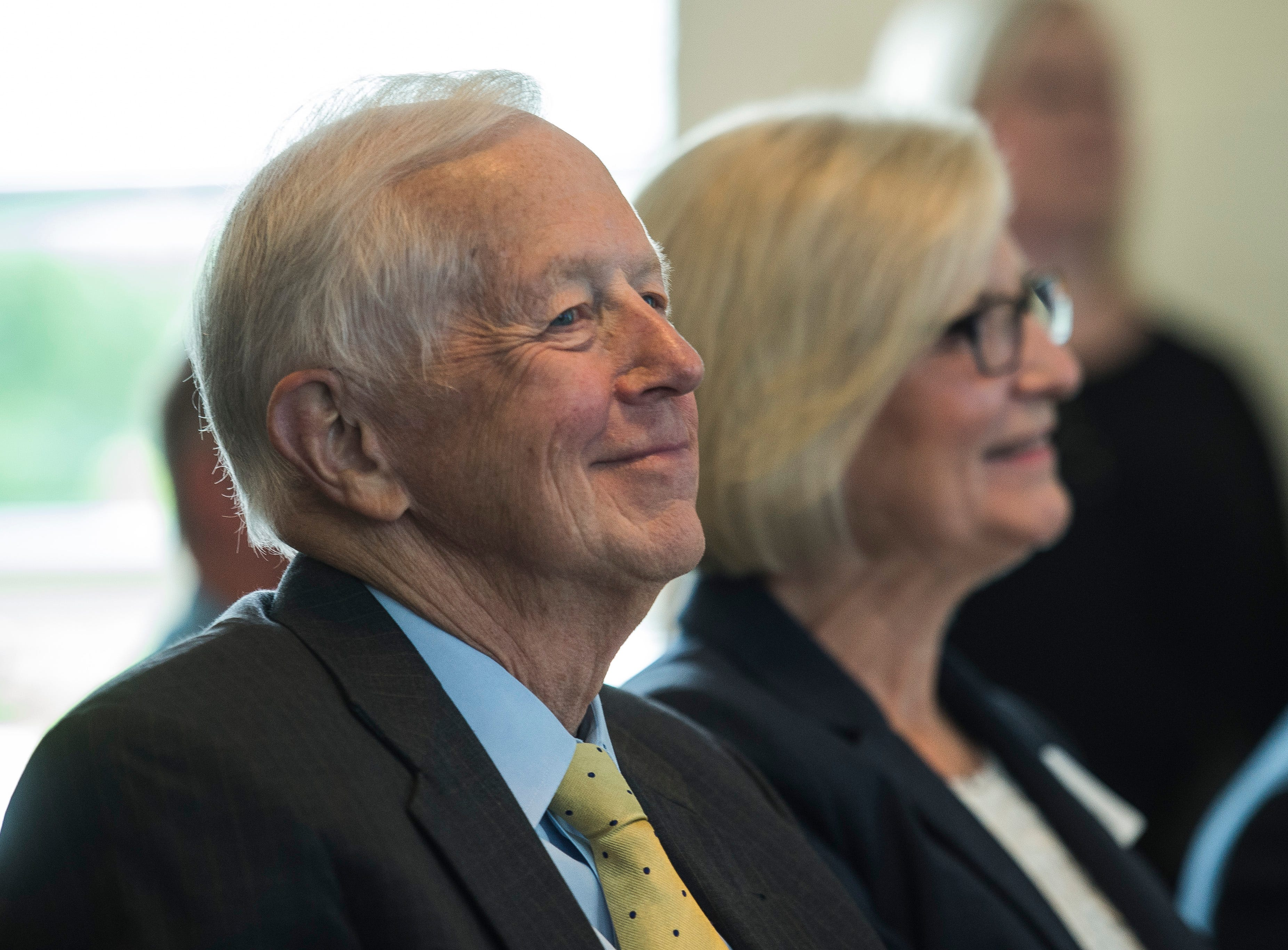 State Drug Czar Jim McClelland smiles during a news conference celebrating the opening of the Winchester House, a new drug treatment facility for women, in Winchester, Ind., on Wednesday, Aug. 1, 2018.