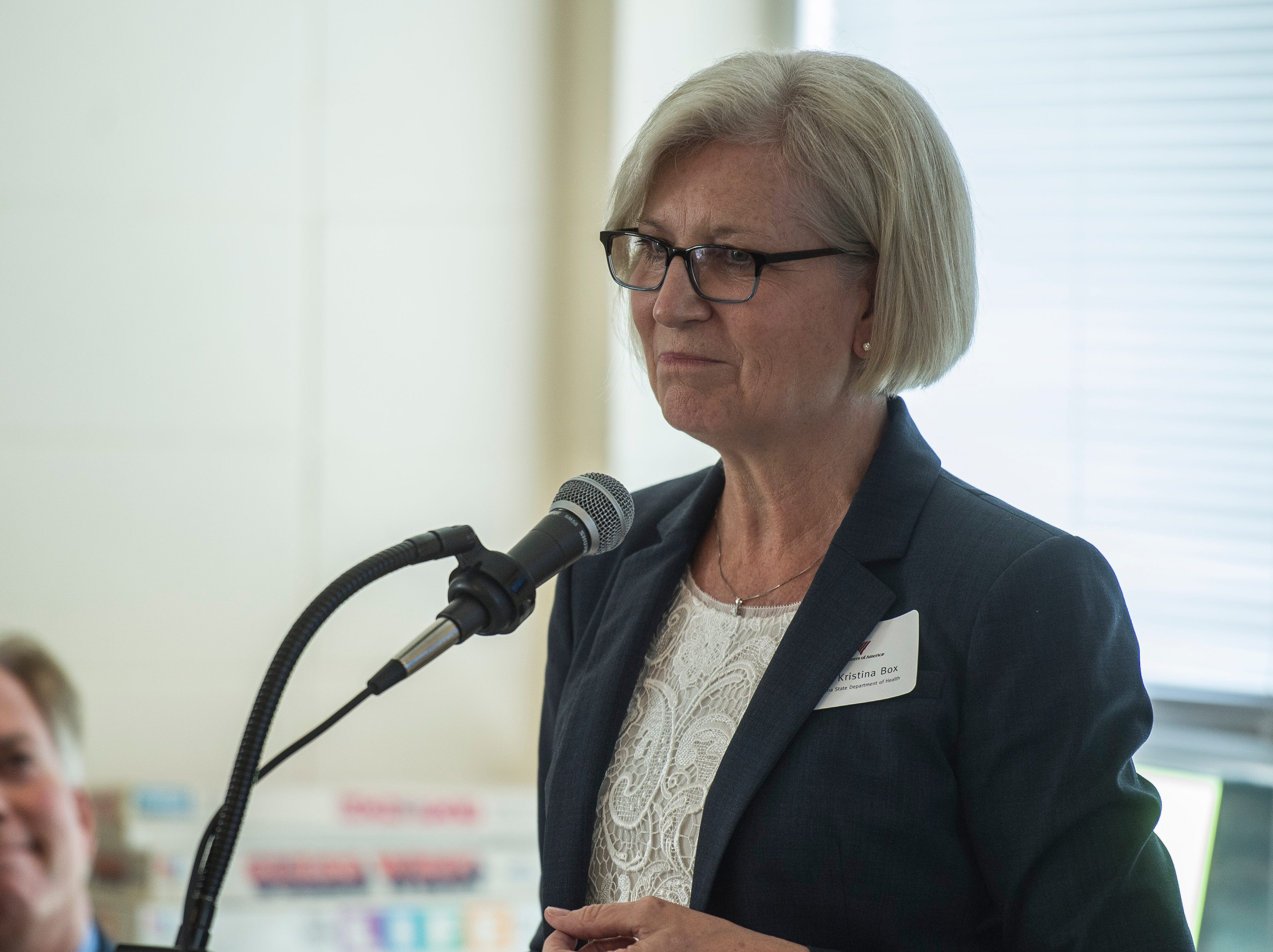 Indiana State Health Commissioner Kristina Box speaks during a news conference celebrating the opening of the Winchester House, a new drug treatment facility for women, in Winchester, Ind., on Wednesday, Aug. 1, 2018.