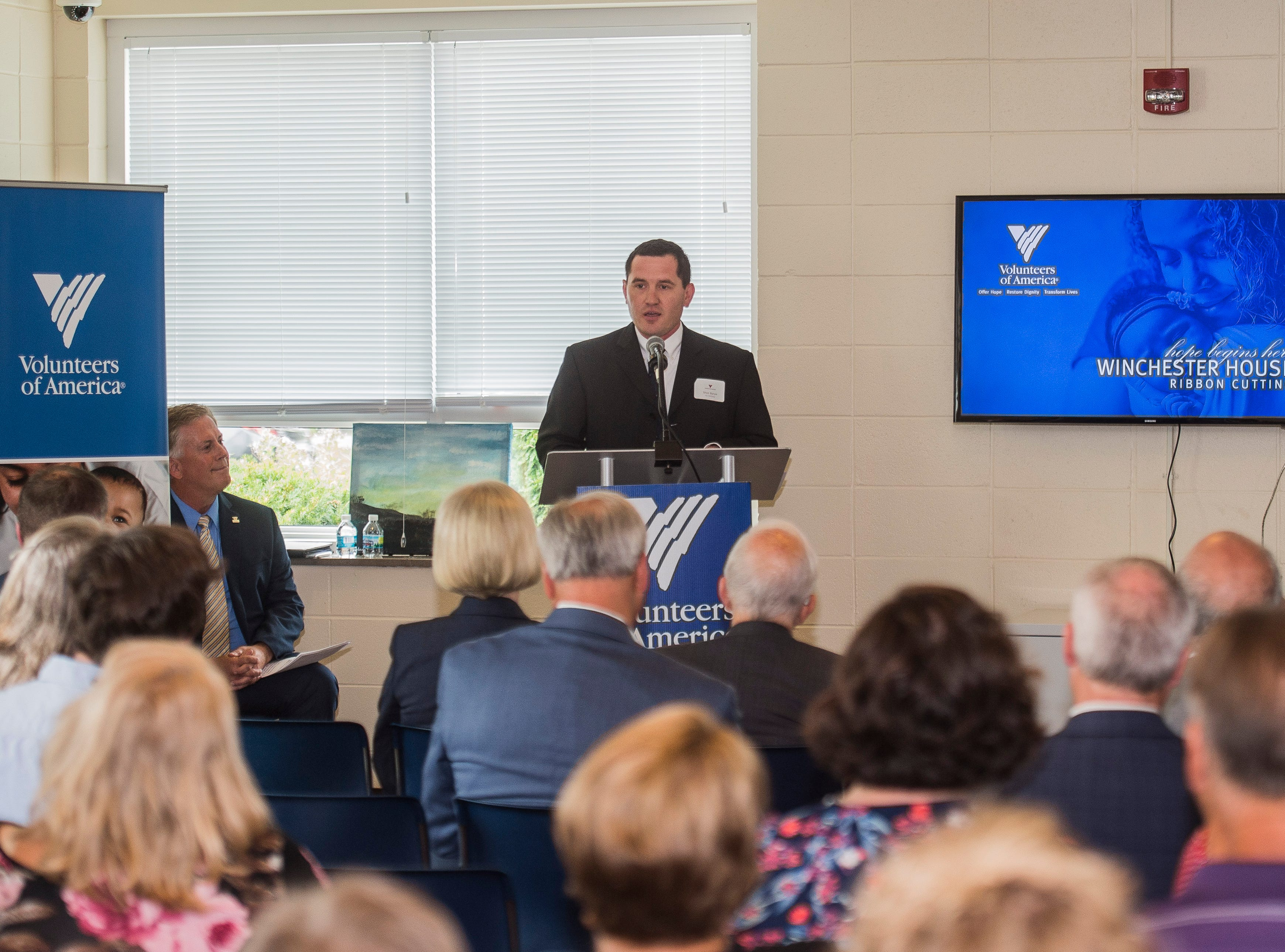 Winchester Mayor Shon Byrum speaks during a news conference celebrating the opening of the Winchester House, a new drug treatment facility for women, in Winchester, Ind., on Wednesday, Aug. 1, 2018.